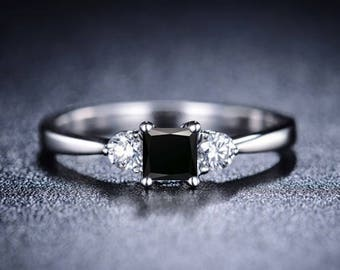 Princess Cut Black Diamond Engagement Ring 14k White Gold or Yellow Gold Diamond Ring Art Deco Anniversary Ring