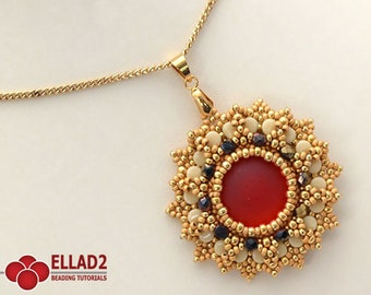 Tutorial Anice Pendant with Pellet beads - Beading tutorial, instant download, pdf