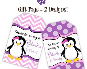 Penguin Gift Tags - Pink Chevron, Purple Polka Dots, Little Girl Penguin Personalized Birthday Party Gift Tags - A Digital Printable File