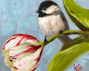 "Black Capped Chickadee, bird, birds, painting, paintings, decor, 6""x6"",art, original, artwork, krista eaton, fall, leaves"
