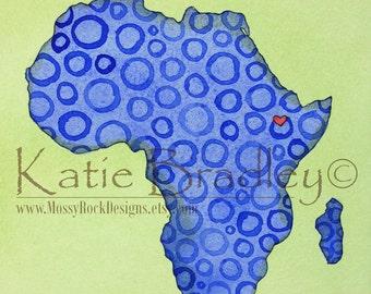 """NEW 8x10 print """"I love Ethiopia"""" blue Africa map"""