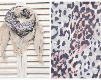 SALE 50% OFF Leopard Scarf, Leopard Print Scarf, Square Chiffon Scarf With Animal Print, Women's Fashion Scarf Gift For Her, HD1