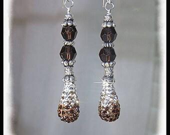 Brown crystal earrings, Brown earrings, teardrop earrings, bling earrings, gifts for her, crystal earrings