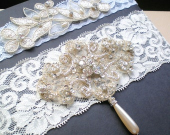 SET Gold Embroidered  Bridal Lace Garters. Jeweled Ivory Lace. GIFT Pearl Medallion. French Romantic Style. Vogue Flare. Sister to Sister