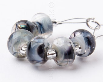 Grey Quartz Spacer Swirl - Handmade Lampwork Glass Beads by Sarah Downton