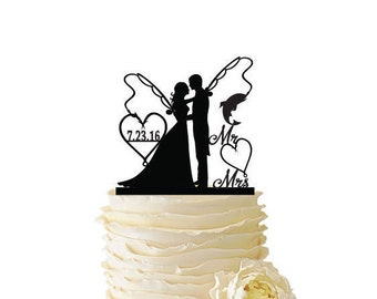 Mr. Mrs. with Bride With Long Hair and Groom - Fishing Poles With Date or Initials  - Standard Acrylic - Wedding - Fishing Cake Topper - 132