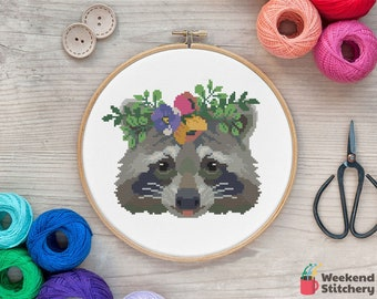Raccoon Cross Stitch Pattern PDF