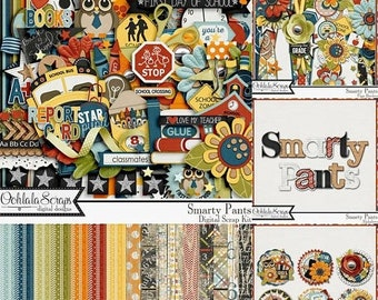 On Sale 50% Smarty Pants School Digital Scrapbooking Kit Bundle for Digi Scrapping and Crafts