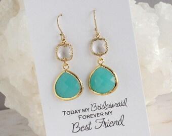 Bridesmaid Earrings   Aqua Mint Earrings   Turquoise Earrings   Bridal party Jewelry   Beach Wedding