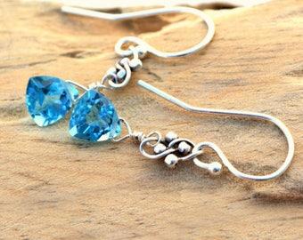 Handmade Blue Topaz Earrings | Topaz Earrings | AAA Quality Blue Topaz | Sterling Silver And Blue Topaz Earrings | Blue Gemstone Earrings
