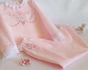 Girl's Pajamas size 6-pajamas-girl-light pink Batista-long sleeve shirt-long pants-white tiptoe-hand embroidered-pajama lingerie PML01