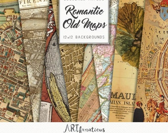 """Old world maps """"Romantic City Maps of The World"""" globe, ancient maps for scrapbooking, greeting cards, website backgrounds, digital designs"""