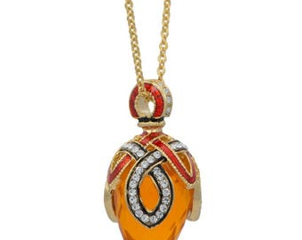 """Yellow Stone Crystal Loop Royal Egg Pendant Necklace 22"""""""