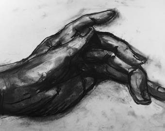 Original charcoal drawing of my hand 1912