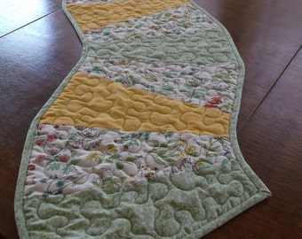 """Quilted Spring/Summer Table Runner, Wave Table Runner, Wedge Table Runner, Spring Decor, Botanical Home Decor, 11.5"""" X 62"""" Table Runner"""