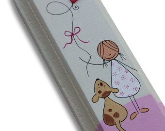 Hand made Girls Mezuzah Case  - Nursery  Mezuzah Case - kids room Mezuzah - Bat Mitzva Gift  - A girl with a puppy Mezuzah case