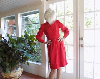 Vintage Leslie Fay ultrasuede dress 1970's long sleeve red: small, petite