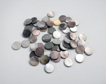 Vintage Mosaic Supply, Mother of Pearl, Black Lip Abalone, Cabochon - 48 pcs - 13mm - G9