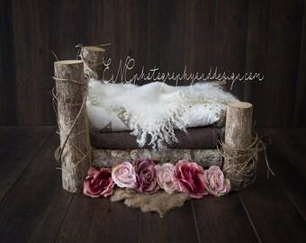 Newborn digital background - bed with pink