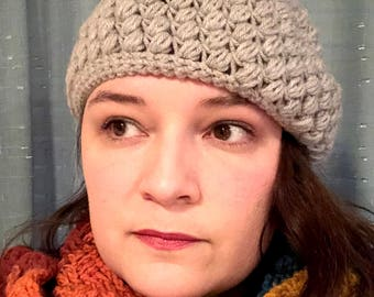 Crocheted Puff Stitch Hat