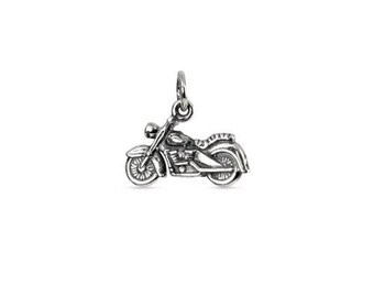 Motorcycle Charm Sterling Silver 10.8x15.8mm - 1pc Wholesale Price (10311)/1