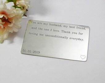 Husband birthday wallet insert card birthday gift for him custom engraved pewter insert personalised gift for husband birthday gift for men