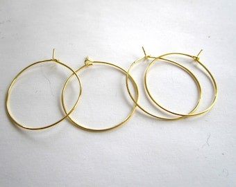 Set of 4 brass 30mm hoops