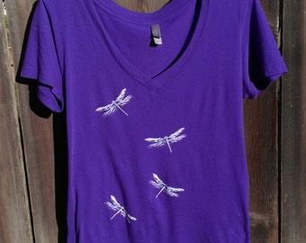 Women's Dragonflies V-neck T-shirt