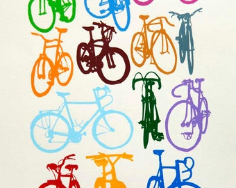 Bicycle Art - Bike Color Chart Game Print - Classic Cycling Art