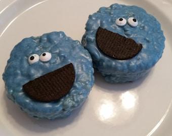 Cookie Monster Chocolate Covered Rice krispy treats gourmet Cookie Monster favors