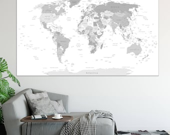 Grey world map etsy large detailed world map wall art with countries names canvas print large grey world map home gumiabroncs Image collections
