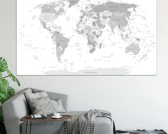 World map in four shades of grey on white background high detail large detailed world map wall art with countries names canvas print large grey world map home gumiabroncs