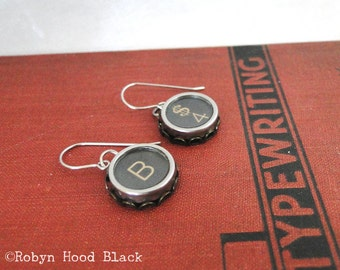 Typewriter Key Earrings Vintage Letter B and Dollar Sign Number 4 keys