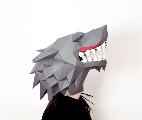 Dire wolf paper mask Beast mask Wolf mask gift for friend PDF