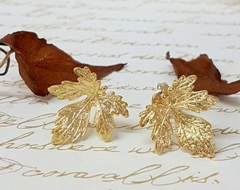 fall leaf studs, Gold Fig Leaf Stud Earrings, Autumn Leaves, Autumn Jewelry, Greek Goddess Earrings, Grecian Jewelry, Grecian Wedding