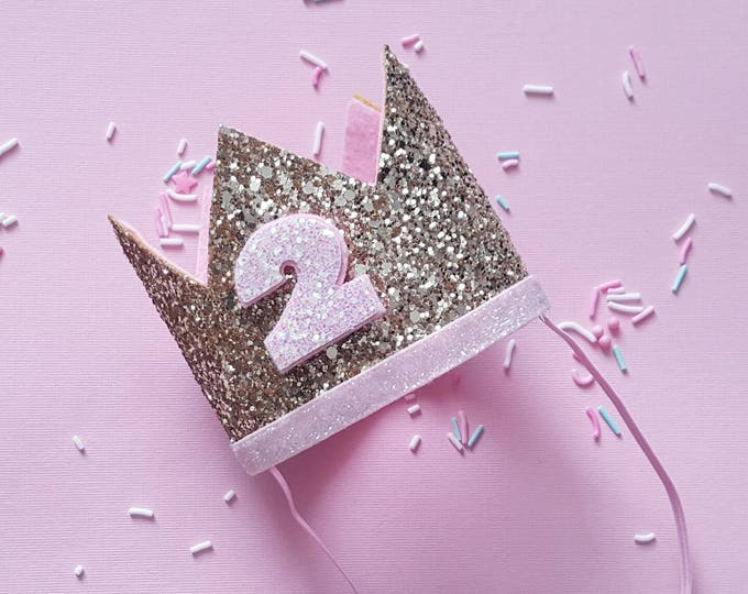 Birthday Crown || Pink and Gold Birthday || Pink and Gold Theme || Gold Crown || Birthday Girl || 2nd Birthday || 2 Crown || Birthday Girl