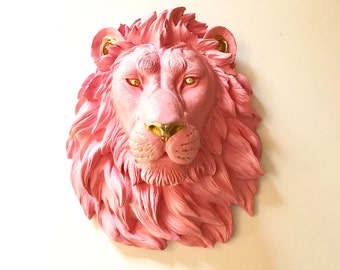 Faux Taxidermy CUSTOM Pick Your Own Colors Choose 2 Colors Large Lion Head wall mount  animal head wall hanging nursery wall decor office