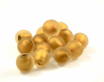 ♥X2 10mm♥ frosted gold glass bead