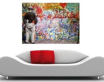Life is Beautiful Grafitti Street Art Pop Art Canvas Print 36 x24