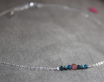 Choker necklace in Silver 925/1000, chrysocolla and Ruby