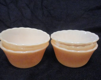 Anchor Hocking Vintage FIRE-KING Lusterware Custard Cups Set of 4 - Made in U.S.A.