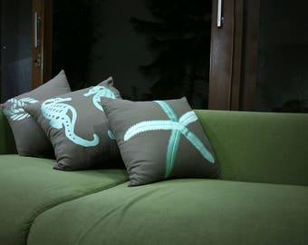 Nautical Pillows, Pillow Cover Set of 4, Embroidery, Throw Pillows, Coastal Pillows, Beach House Decor, Pillows, Nautical Decor