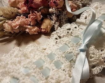 Hand crocheted lace bridal garter
