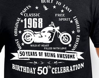 50th birthday Gift T-Shirt Funny 50th birthday Age 50 Years Bike Gift Old Man 1968 Father Brother Boss Uncle Husband Classic Born Birthday