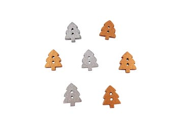 50 x 14mm Wooden Silver or Gold Small Christmas Tree Buttons