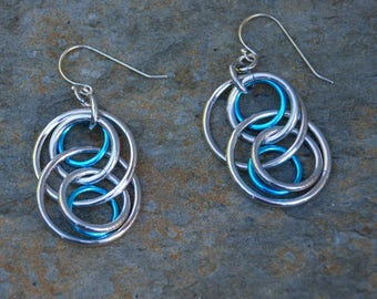 Illusion Hoop Earrings Turquoise Accents