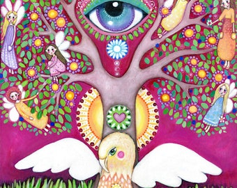 Griffin Tree Of Life Original Painting Gryphon Art Lindy Longhurst Third Eye Art Chakras Fairy Art Affirmation Card Painting Gift for Friend