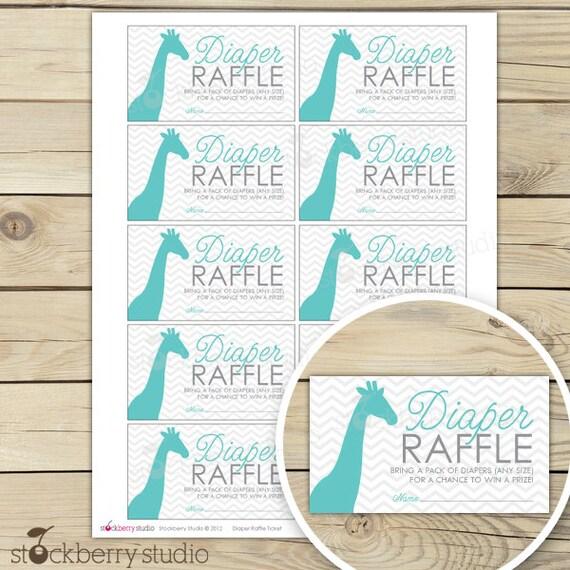 Lovely Giraffe Baby Shower Diaper Raffle Tickets Aqua Blue Gray