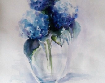 Watercolor painting of hydrangeas