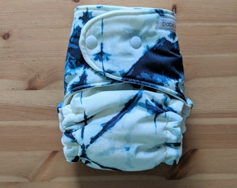 Navy Tie Dye OBF Hybrid Fitted Diaper - OS Hybrid Fitted Cloth Diaper - OS Fitted Diaper with Fold Down Rise